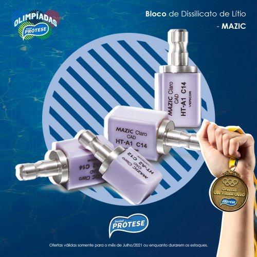 Bloco de Dissilicato de Lítio Mazic Claro CAD C14 HT-BL1 c/ 5 unidades - DPF